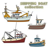 Set of fishing vessel in sea. Vector colored illustration