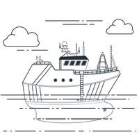 Fishing vessel in sea. Vector outline illustration
