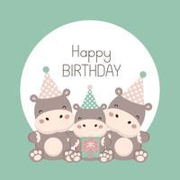Scheda di buon compleanno con cartone animato carino ippopotamo.