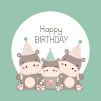 Happy birthday card with cute hippopotamus cartoon.