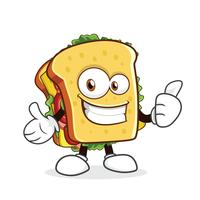 Cute sandwich cartoon character vector