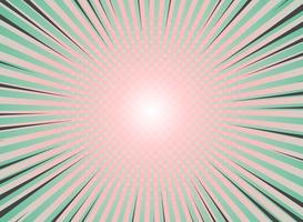 Abstracte zon barstte achtergrondwijnoogst van halftone patroonontwerp. Groene en levende koraalkleuren met een hoogtepunt van de komische streep. vector eps10