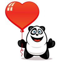 Panda holding hearth balloon