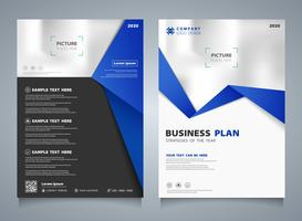 Abstract business brochure of blue template layout background. You can use for modern presentation of brochure, ad, flyer.