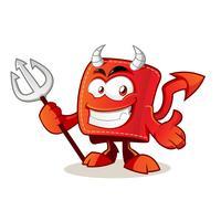 personaje de dibujos animados billetera diablo vector