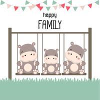 Famiglia felice con ippopotamo su altalena.
