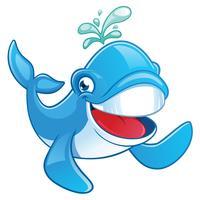 Simpatico personaggio dei cartoni animati di balena vettore