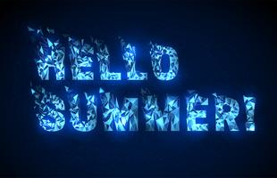 Abstract low poly style text hello summer.