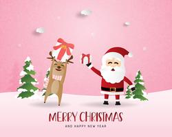 Merry Christmas and Happy new year greeting card in paper cut style. Vector illustration Christmas celebration background with Happy reindeer and Santa. Banner, flyer, poster, wallpaper, template.