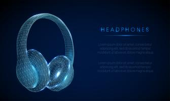 Abstarct low poly style headphones. Wireframe structure.