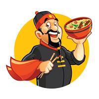 Chef chino de dibujos animados sosteniendo un tazón con noddles