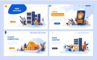 Set of landing page template for Hosting, Data Protection, Data Center, Cloud Computing. Modern vector illustration flat concepts decorated people character for website and mobile website development.