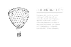 Flying hot air balloon. Low poly design.