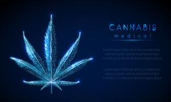 Medical cannabis. Marihuana leaf. Low poly style design.