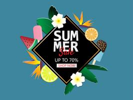Summer sale banner background in paper cut style. Vector illustration for brochure, flyer, advertising, banner template.