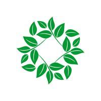 Diseño de ilustración de plantilla de logotipo de hojas de flor verde. Vector EPS 10.