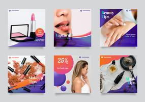 Beauty Instagram Feed Template Vector Pack