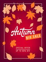Autumn sale vector banner with leaves