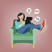 Vector illustration of online shopping cartoon girl