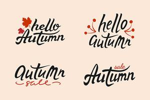 Set of Autumn vector hand drawn lettering with leaves