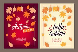 Set of Autumn sale vector banners with leaves