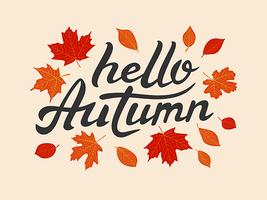 Hello Autumn vector hand drawn lettering with leaves