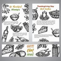 Dia de ação de Graças coleção broshure de mão desenhada ilustração com elementos de outono, comida Vintage estilo retro