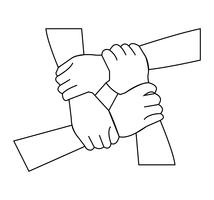 Teamwork hands holding line art