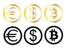 Símbolos de moeda do dinheiro
