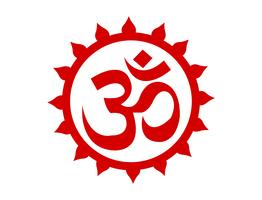 Red Om sign emblem