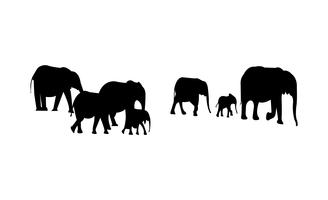 Olifanten kudde zwart silhouet