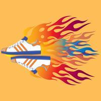 Calçado desportivo em chamas