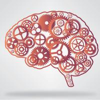 Orange color brain shaped gear wheels vector