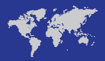 Isometric big Tetragon shape world map vector white on blue