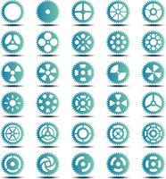 Gear collection turquoise set vector