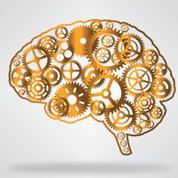 Golden brain shaped gear wheels vector
