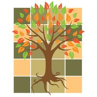 Autumn tree vector sign