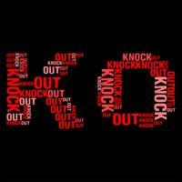 Knock Out Wordcloud illustration vectorielle fond noir
