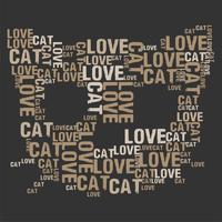 Kat liefde woord wolk vectorillustratie
