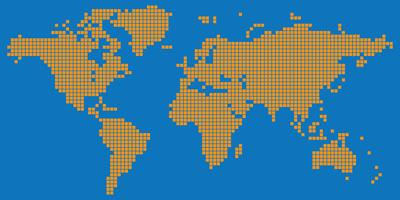 Orange colored square dotted world map vector