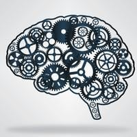 Dark blue color brain shaped gear wheels vector