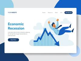 Landing page template of Businessman with Economic Recession Illustration  Concept. Modern flat design concept of web page design for website and mobile website.Vector illustration