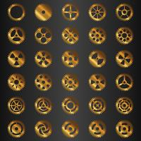 Gear collection golden set vector