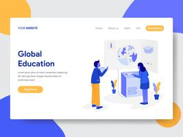 Landing page template of Global Education Illustration Concept. Modern flat design concept of web page design for website and mobile website.Vector illustration