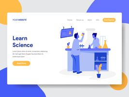 Plantilla de la página de aterrizaje del concepto de ilustración de aprender la ciencia. Concepto de diseño plano moderno de diseño de página web para sitio web y sitio web móvil. Ilustración de vector