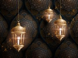 Arabesque background with lanterns