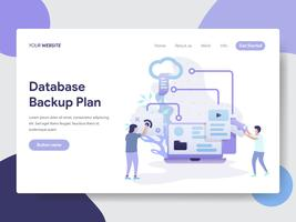 Landing page template of Database Backup Plan Illustration Concept. Modern flat design concept of web page design for website and mobile website.Vector illustration