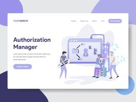Landing page template of Authorization Manager Illustration Concept. Modern flat design concept of web page design for website and mobile website.Vector illustration