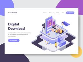 Landing page template of Digital Download Illustration Concept. Isometric flat design concept of web page design for website and mobile website.Vector illustration