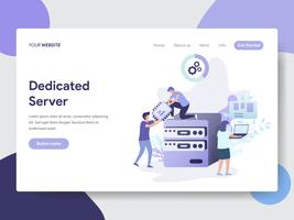 Landing page template of Dedicated Server Illustration Concept. Modern flat design concept of web page design for website and mobile website.Vector illustration